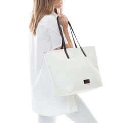 Maxi-bag bianca in eco-pelle con manici neri,