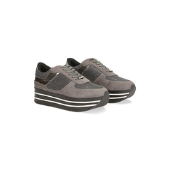 Sneakers grigie con maxi platform a righe bianche e nere, 122707075MFGRIG035, 002