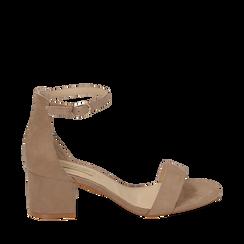 Sandalias en microfibra color beige, tacón 5,50 cm, 152707031MFBEIG035, 001a