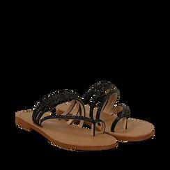 Sandali infradito con strass neri in eco-pelle, Saldi Estivi, 114926815EPNERO035, 002a
