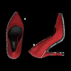 Décolleté rosse in glitter, tacco 11 cm , Scarpe, 142146861GLROSS036, 003 preview