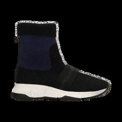 Sneakers nero-blu sock boots con suola in gomma bianca, Primadonna, 124109763TSNEBL035, 001 preview