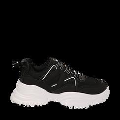 Dad shoes nere in tessuto tecnico con dettagli bianchi, zeppa 6 cm , Scarpe, 14D814101TSNERO035, 001a
