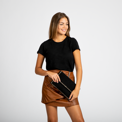 Pochette nera in microfibra scamosciata con profili borchiette, Saldi, 123308832MFNEROUNI, 006 preview