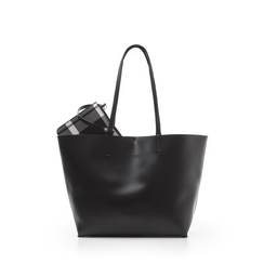 Shopping bag nera in eco-pelle con pochette ed interni stampa checked, Borse, 133783133EPNEROUNI, 001a