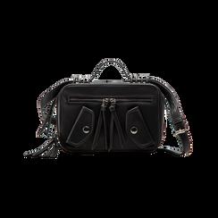 Camera bag con tracolla nera in ecopelle, Saldi, 122440791EPNEROUNI, 001 preview