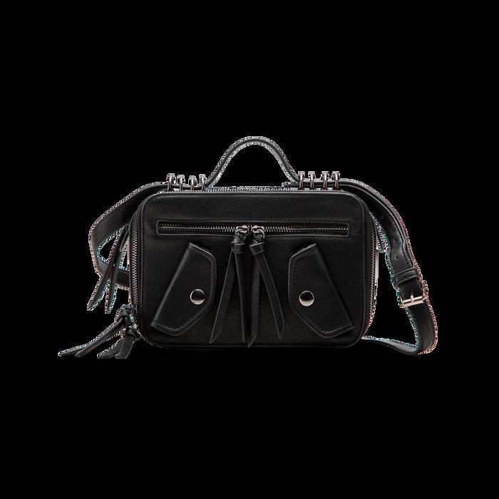 Camera bag con tracolla nera in ecopelle, Saldi, 122440791EPNEROUNI