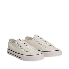 Sneakers bianche in canvas, Scarpe, 137300862CABIAN035, 002a