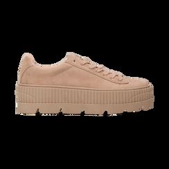 Sneakers rosa nude con suola extra platform zigrinata, Scarpe, 122618776MFNUDE, 001 preview
