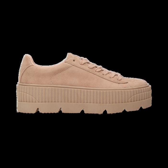 Sneakers rosa nude con suola extra platform zigrinata, Scarpe, 122618776MFNUDE