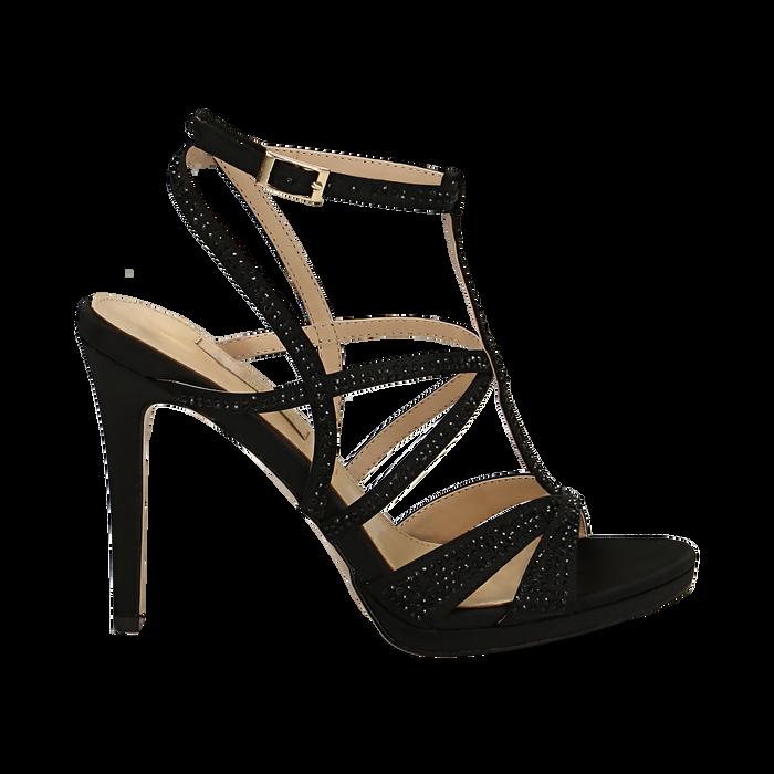 Sandali multilistino neri in raso, tacco 10,50 cm, Sandali con tacco, 132127406RSNERO036
