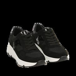 Sneakers noires en tissu technique, compensée 4 cm, Primadonna, 162801993TSNERO035, 002a