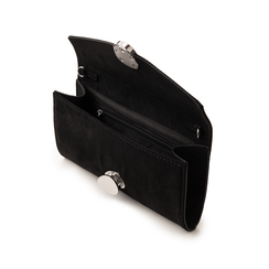 Pochette nera in microfibra con chiusura decor, Borse, 133322174MFNEROUNI, 004 preview