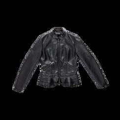Giacca corta nera ecopelle, collo alla coreana, Abbigliamento, 126500914EPNERO, 001 preview