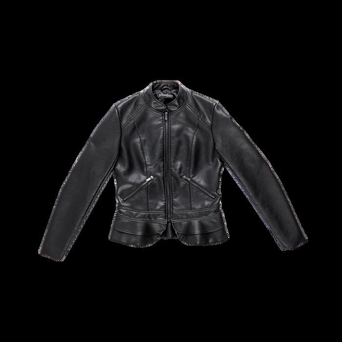 Giacca corta nera ecopelle, collo alla coreana, Abbigliamento, 126500914EPNERO