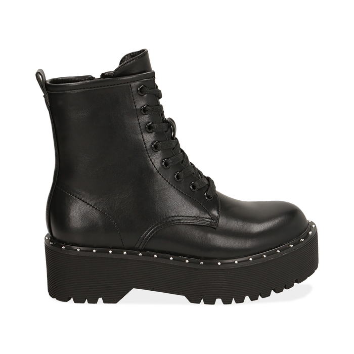 Bottines noir, platform 5,5 cm, Primadonna, 160622521EPNERO035