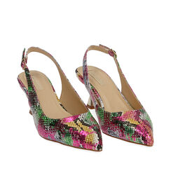 Slingback multicolor stampa pitone, tacco 6 cm , Chaussures, 174954431PTMULT035, 002a