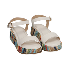Sandali bianchi in eco-pelle, zeppa 4,50 cm , Chaussures, 154917199EPBIAN038, 002 preview