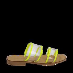 Mules flat gialle in vernice fluo con effetto see through, Saldi Estivi, 136767001VEGIAL035, 001a