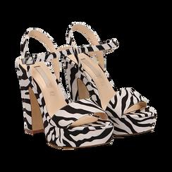 Sandali zebrati in microfibra con plateau, tacco 13 cm,