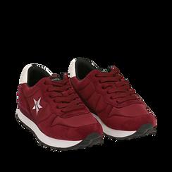 Sneakers bordeaux in microfibra, Scarpe, 140600201MFBORD035, 002a