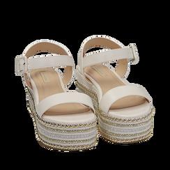 Sandali bianchi in eco-pelle, zeppa 7 cm , Primadonna, 154932211EPBIAN035, 002a