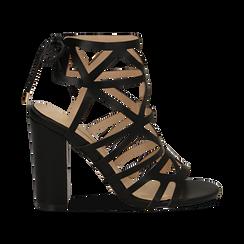 Sandali cage neri in eco-pelle, tacco 10 cm,