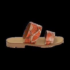 Mules flat arancio in vernice effetto snake skin, Primadonna, 136767003PTARAN036, 001 preview