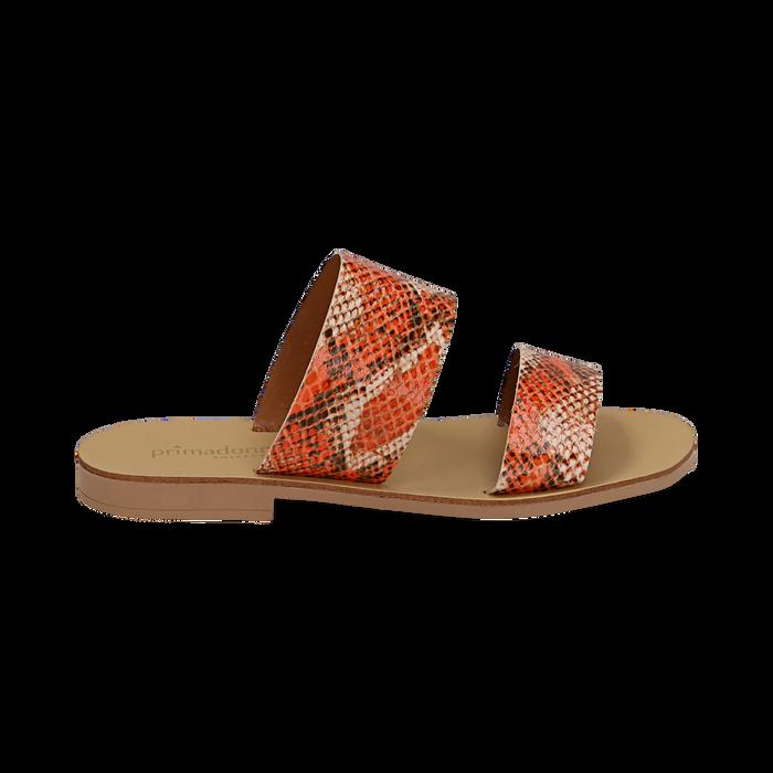 Mules flat arancio in vernice effetto snake skin, Primadonna, 136767003PTARAN036