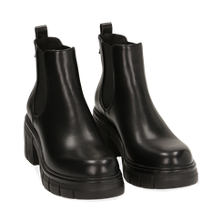 Chelsea boots neri, tacco 5 cm , Primadonna, 160621171EPNERO038, 002 preview