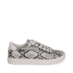 Sneakers bianco/nere in eco-pelle snake print, Sneakers, 152607101PTBINE035, 001a