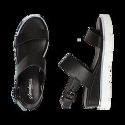 Sandali flat neri in eco-pelle , Scarpe, 132182545EPNERO, 003 preview