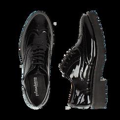 Stringate nere in vernice con lavorazione Duilio, Scarpe, 143055701VENERO, 003 preview