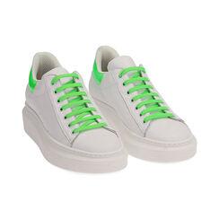 Sneakers bianco/verde in pelle, Primadonna, 17L600102PEBIVE035, 002 preview