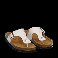 Zeppe bianche in eco-pelle con suola in sughero, Scarpe, 136785202EPBIAN035, 002a