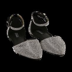 Bailarinas con brillantes de microfibra en color negro, Zapatos, 154968041MPNERO037, 002 preview