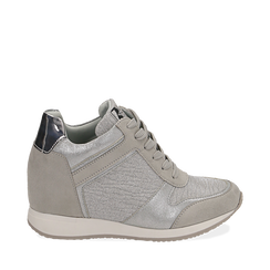 Sneakers oro argento glitter con zeppa, Scarpe, 152821522GLARGE035, 001a