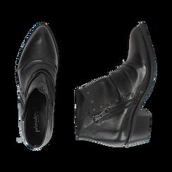 Camperos neri in pelle di vitello, Scarpe, 14A919008VINERO035, 003 preview