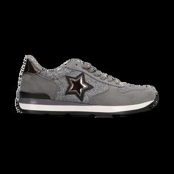 Sneakers grigie dettagli glitter , Primadonna, 121308201LMGRIG, 001 preview