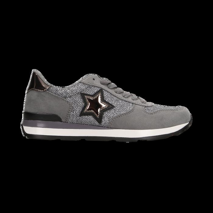 Sneakers grigie dettagli glitter , Primadonna, 121308201LMGRIG