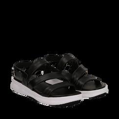 Sandali neri in pelle multilistino, Saldi Estivi, 134304540PENERO035, 002a