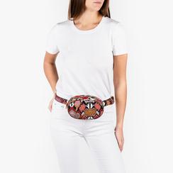 Riñonera en eco-piel con estampado de serpiente color negro/rojo, Bolsos, 155100843PTNERSUNI, 002a