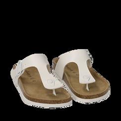 Ciabatte bianche con suola in sughero, Primadonna, 157811613EPBIAN036, 002a