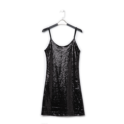 Mini-dress nero in tessuto e paillettes , Primadonna, 13A207801PLNEROL, 001a