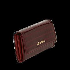 Portafogli bordeaux in eco-pelle effetto cocco , Borse, 142200898CCBORDUNI, 002a