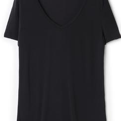 T-shirt con scollo a V nera in tessuto, Saldi Estivi, 13F750713TSNEROL, 002a