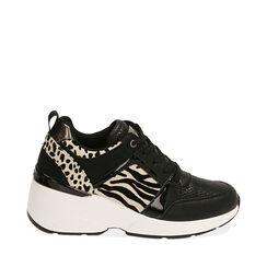 Sneakers nere, zeppa 7,5 cm , Primadonna, 182663020EPNERO035, 001a