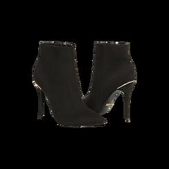 Tronchetti neri scamosciati, tacco stiletto 11 cm, Scarpe, 122168615MFNERO, 005 preview