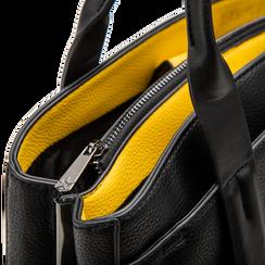 Mini bag nero-gialla in ecopelle, Saldi Borse, 122323219EPNEGIUNI, 004 preview