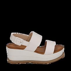 Sandali bianchi in eco-pelle, zeppa 6,50 cm , Scarpe, 154926601EPBIAN035, 001a